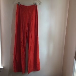 Beautiful Bright Red Wide-Leg Linen Pant